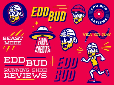 Edd Bud Branding beard face cartoon m7d illustration branding and identity running branding mascot illustrator design esports sports logo