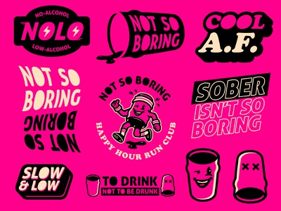 """Not So Boring"" sticker sheet vector illustration illustrator design football sports logo m7d logos cartoon branding alcohol beer"