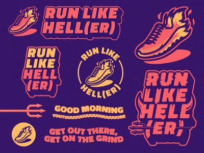 Run Like Hell(er) Branding running runner run mascot grunge m7d illustrator design sports logo youtube channel fun branding design branding youtube