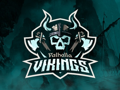 Valhalla Vikings Logo esports sports logo skull viking