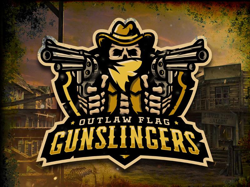 Outlaw Flag Gunslingers Logo esports skull pistol gun flag logo