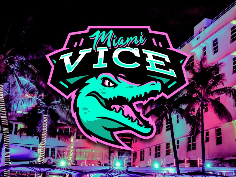 Miami Vice Logo croc alligator crocodile logo sports neon miami
