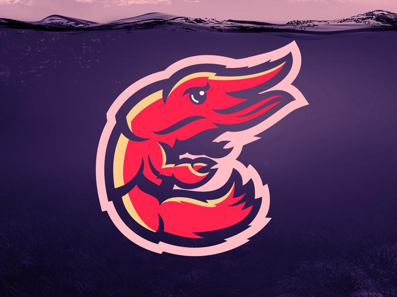 Derscampi Logo scampi lobster american skull m7d london illustrator grunge design esports football sports logo prawn