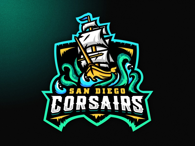 San Diego Corsairs Logo neon pirate kraken sea ship boat illustration grunge design football esports sports logo