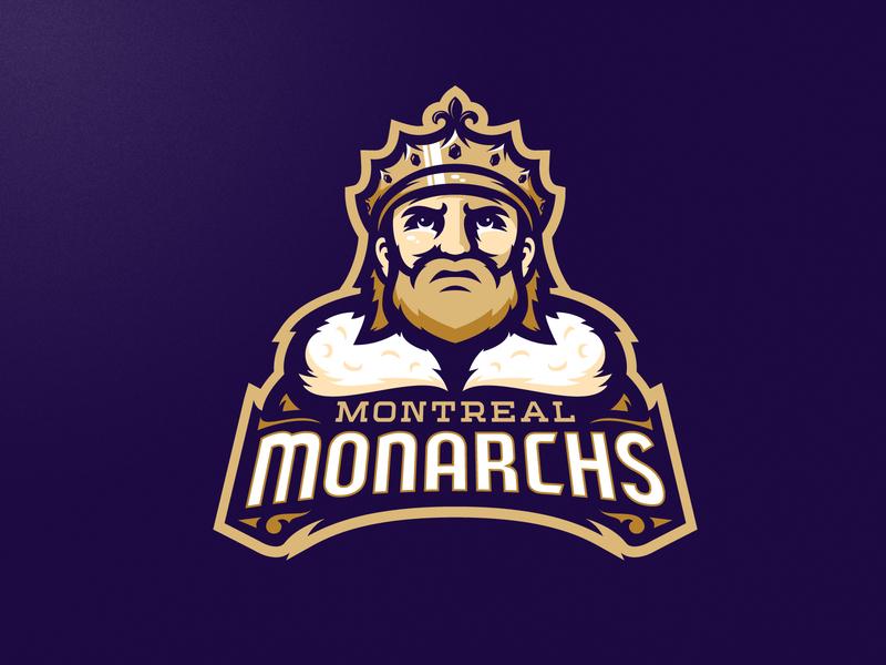 Montreal Monarchs dog branding angry mascot illustration m7d american skull london illustrator grunge design football esports sports logo