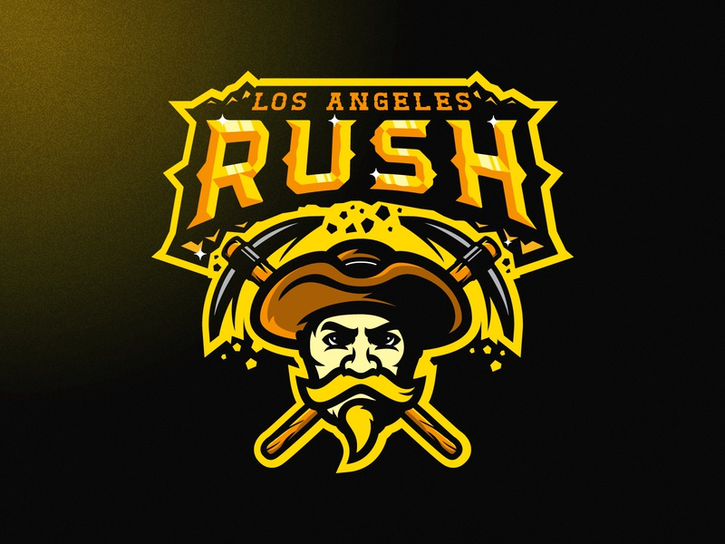LOS ANGELES RUSH vector branding angry mascot illustration m7d american skull london illustrator grunge design football esports sports logo