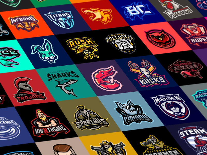Logooooos dragon crocodile vector neon dog angry illustration branding mascot m7d skull american london illustrator grunge design football esports sports logo