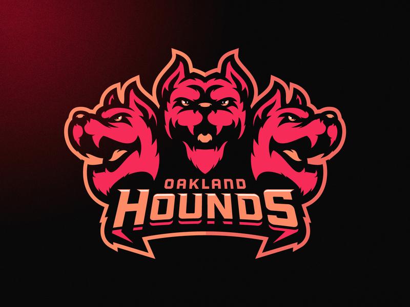 Oakland Hounds nfl vector neon dog angry illustration branding mascot m7d skull american london illustrator grunge design football esports sports logo cerberus