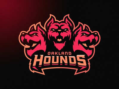 Oakland Hounds nfl vector neon dog angry illustration branding mascot m7d skull american london illustrator grunge design football esports sports logo cerberus