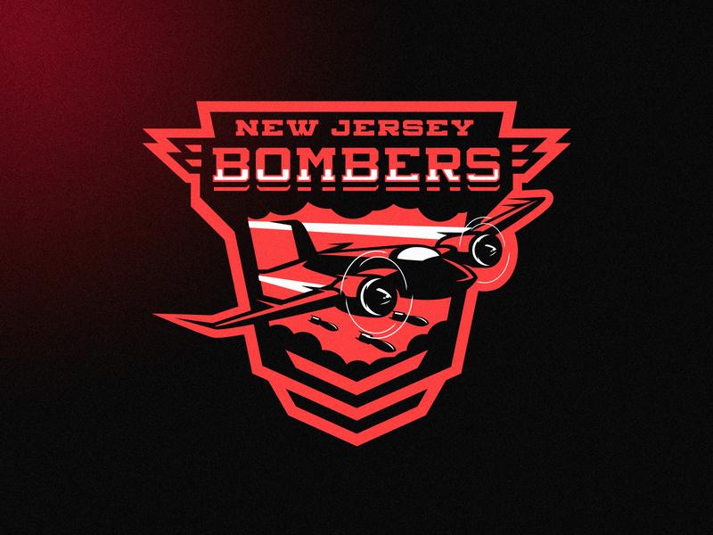 New Jersey Bombers mascot m7d london football grunge design esports sports jet airplane plane logo