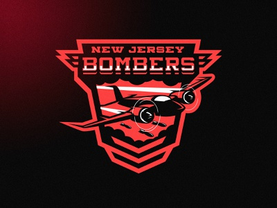 New Jersey Bombers mascot m7d london football grunge design esports sports jet airplane plane logo