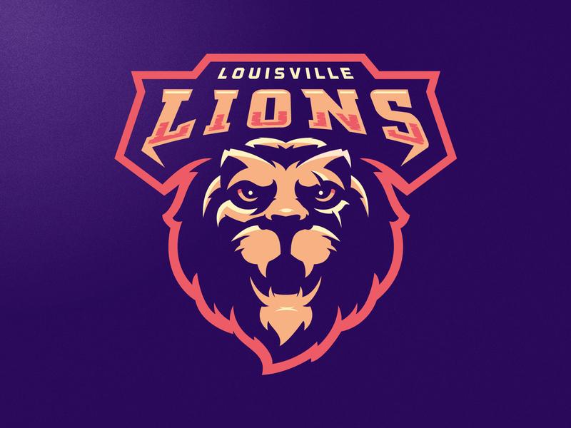Louisville Lions lion king lion head lion logo illustration m7d cat tiger neon lion mascot football esports sports logo