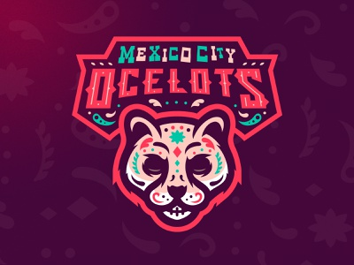 Mexico City Ocelots m7d day of the dead ocelot skull illustrator london grunge design football esports sports logo