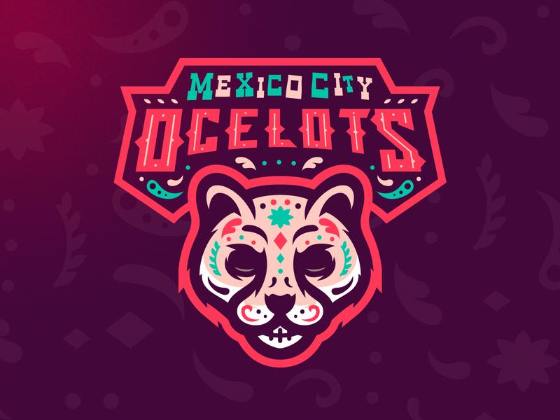 Mexico City Ocelots m7d day of the dead ocelot skull illustrator london grunge design football esports sports logo