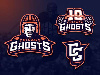 Chicago Ghosts illinois chicago angry mascot skull m7d illustrator london grunge design football esports sports logo