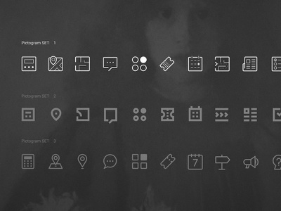 QR app flat design branding museum art room33 pictograms ui app