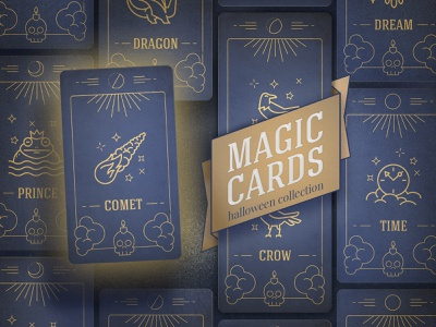 Halloween Magic Cards flat  design room33 ui halloween illustration identity icon