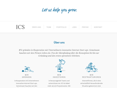 ICS icons & website finance investing start-up grow vc venture capital icons website
