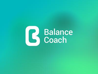 Logo Balance Coach fitness food lifestyle health c b blue green negative space coach balance logo design