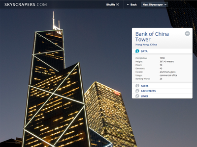 skyscrapers.com webdesign user interface data sheet showcase fullscreen background images photography skylines skyscrapers gallery