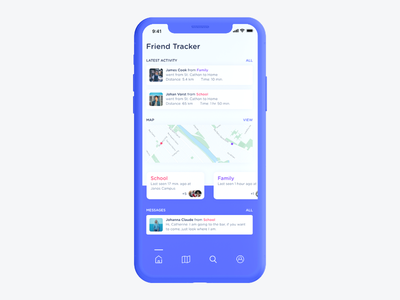 Friends Tracker App maps map web ux uidesign ui iphone x invite app concept app