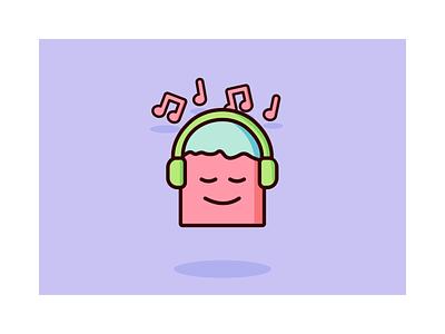 Character listening to music vector enjoying headset vibes music illustration illustrator character design characterdesign character