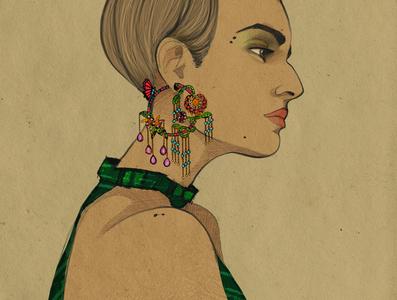 Illustration de mode - égérie bijoux joaillerie fashion branding illustration fashion illustration character design