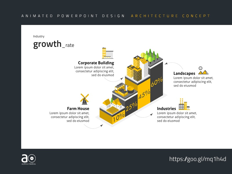 arc animated presentation template industry growth by alpha omega