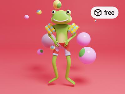 Freebie: A 3D Frog Illustration   Blender blender design illustration web ui character 3d freebie free