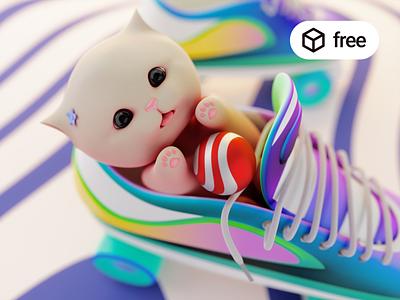 Freebie: A Cute Cat 3D Illustration cat illustration ui web blender 3d free freebie