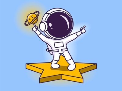 Dancing astronaut art vector cosmos planets 2d illustration dancing space spaceman astronaut