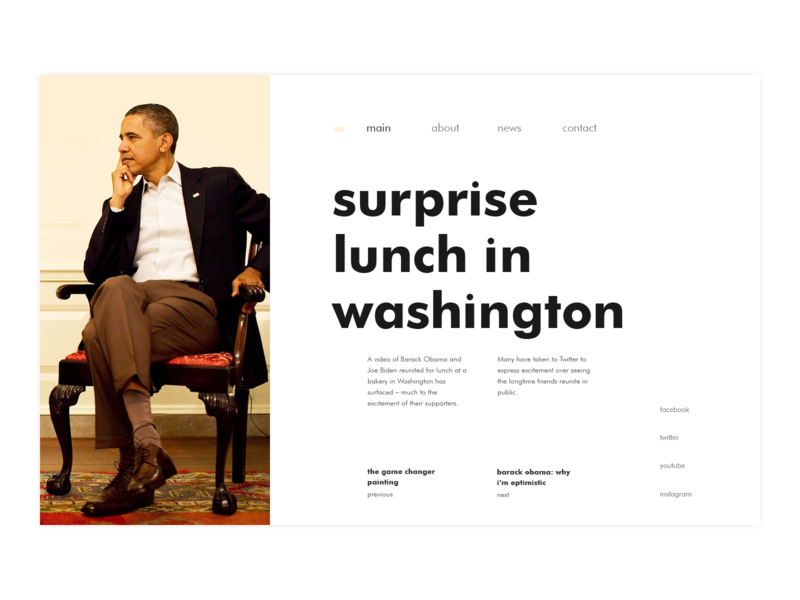 President's website news president ux ui ux ux challenge design app ui web web site typography flat
