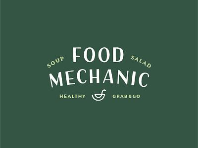 Food Mechanic Logo branding restaurant branding restaurant food logo bowl healthy salad soup mechanic food hand lettered logo hand drawn logotype logo typography lettering hand lettering