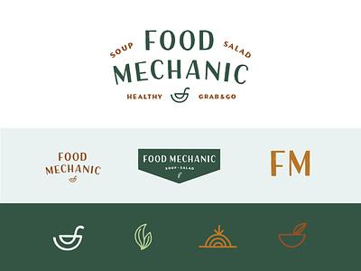 Food Mechanic Branding hand type logotype logo brand identity health food restaurant onion leaf bowl healthy salad soup logo design brand elements branding hand drawn typography illustration lettering hand lettering