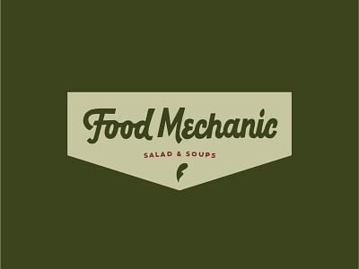 Food Mechanic Logo Outtake health food healthy organic vintage script logotype logodesign logo leaf soup salad mechanic food sustainable branding hand drawn typography illustration lettering hand lettering