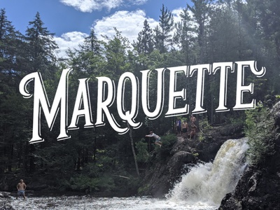 Marquette, MI logo overlay type yooper upper peninsula michigan marquette cliff jump hand type photo type waterfall vintage logotype hand drawn typography illustration lettering hand lettering