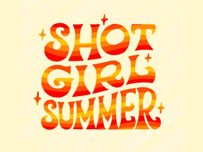 Shot Girl Summer seventies typography type wavy red orange stripes quarantine covid vaccination vaccine shot summer psychedelic groovy 70s 1970s illustration lettering hand lettering