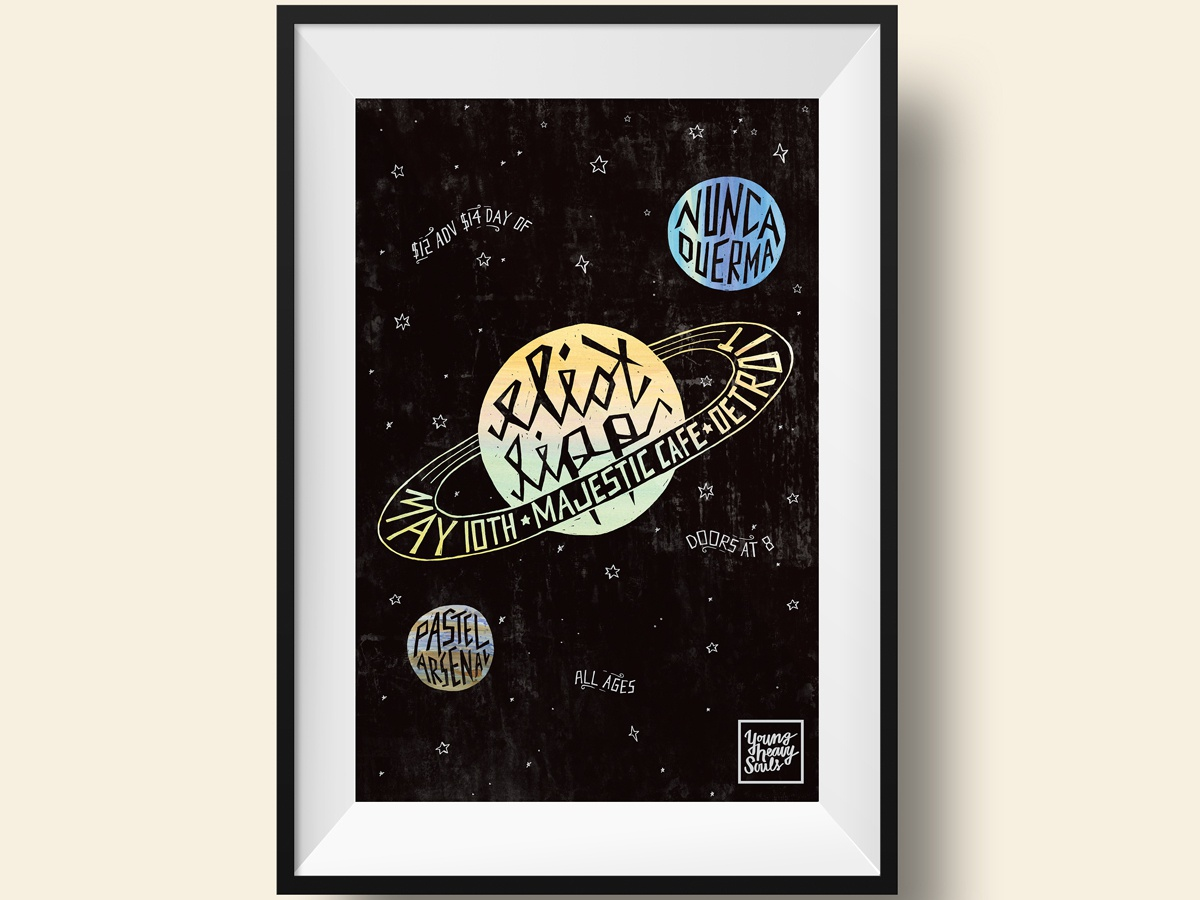 Eliot Lipp Poster band poster gig poster detroit lettering artist galaxy outerspace neptune saturn hand lettering lettering watercolor planets space eliot lipp poster art poster poster design