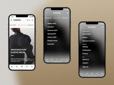 TORENDO. - Fashion e-commerce mobile app UX/UI Case study fashion mobileui clean ecommerce ux minimal ui