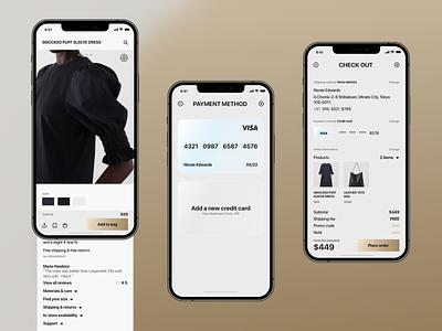 TORENDO. - Fashion e-commerce mobile app UX/UI Case study payment credit card checkout mobileui mobileapp clean ecommerce ux minimal ui