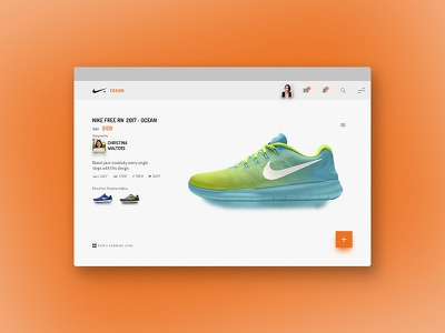 NIKE+ DESIGN webapp store shoes search profile products nike ecommerce. mobileui