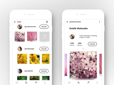 Profile and Search UI ux ui social media sketch search profile photoshop minimal clean