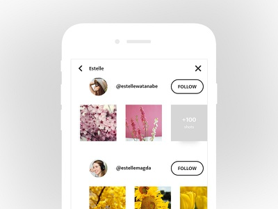 Search UI ux ui media social sketch search profile photoshop minimal clean