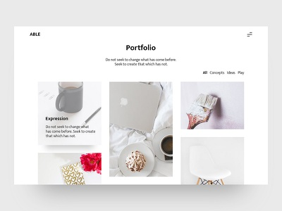 ABLE - Minimal & Clean Blog UI portfolio simple white freebie ux ui webdesign able clean minimal blog
