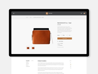 Sneak peek - PRODUCT DETAIL uidesign user interface product detail featured ecommerce history sneak peek minimal product leather