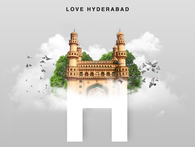 Hyderabad Charminar Double Exposure Design