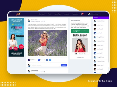 Social Media Web Application Design (You Admire It) Profile Page