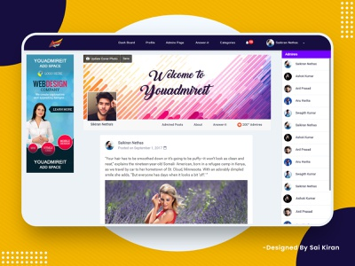 Social Media Web Application Design (You Admire It) My Profile mockup illustration logo design clean art graphic deign web ux ui minimal icon flat design app animation vector logo branding hyderabad india