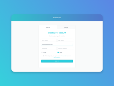 1KProjects - Sign Up create account email form ui interface web design signup