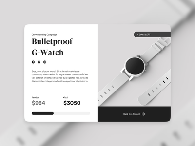 Daily UI Challenge #032 - Crowdfunding Campaign crowdfunding campaign dailyui branding dailychallenge daily 100 challenge daily ui website design web design clean ui